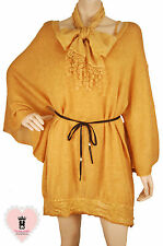 Made in Italy - go124 - Gold Tiered Wool Tunic & Insdie Tee & Scarf - 3 items