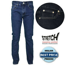 Jeans Uomo Cotone 5 Tasche Regular Fit Gamba Dritta Elasticizzato Pantalone Deni