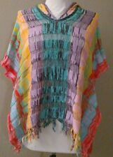 Anthropologie Sparrow Metallic Rainbow Colored  Poncho Hooded  Sweater M/L