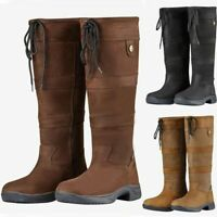 Ladies Faux Leather Knee High Boots Women Flat Heels Long Riding Calf Flat Shoes