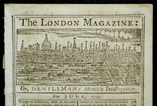 1759 LONDON MAGAZINE Antique History VIZCAINO CALIFORNIA VOYAGE / GUADELOUPE MAP