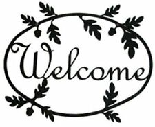 Wrought Iron Welcome Sign Acorn Silhouette Outdoor Plaque Outside Decor Oak Tree