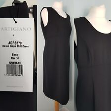 Artigiano Black Shift Dress Crepe Italian Sleeveless 16 NWT