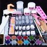 Acrílico Glitter Polvo Gel UV Lima De Uñas Cepillo Manicura Pedicura Kit Decor