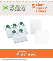 5 REPL Miele Deluxe Cloth Type U Bags & 2 Filters Part # 07282050