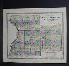 Illinois Map 1875 Counties of Mercer, Henderson, Warren, & Knox Q1#94