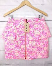 New Reverse Womens Skirt M Peplum Floral Stretch Elastic Waist Pink Party A304