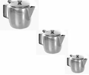 Stainless Steel Metal Teapot Cafe Kitchen Tea Coffee Drink Flip Lid Pot Catering