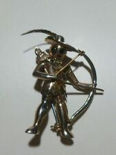 RARE ART DECO ROBIN HOOD BOW & ARROW FEATHER BROOCH PIN GOLD WASH COLOR SIGNED