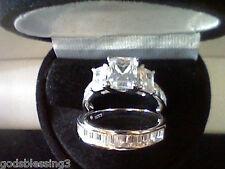 PLATINUM & SS EMERALD CUT 3.50CTW LCS DIAMOND ENGAGEMENT RING SET SZ 6 + GIFT!