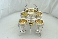 RARE GEORGE III HM STERLING SILVER 4 EGG CRUET & SPOONS WITH CENTRAL SALT 1805