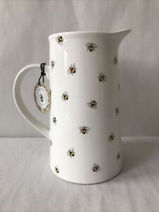 Botanical Discovery White Ceramic Bumble Bee Jug Pitcher Vase Country Rustic