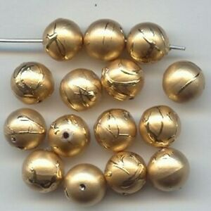 12 VINTAGE GERMAN ACRYLIC GOLD DRIZZLE 10mm. ROUND DECO BEADS   2428