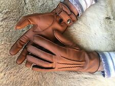 Men's Winter Leather Gloves Brown Deerskin with cashmere lining