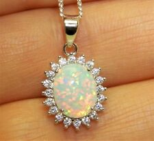 """925 Sterling Silver Opal Cabochon  Oval Cluster Pendant 18"""" Silver Chain"""