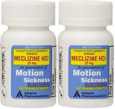 Meclizine 25 mg Generic Bonine Motion Sickness Chew Tabs 100 per/Bot PACK of 2