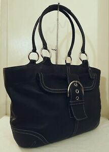 Immaculate Coach Huge Soho Black Leather XL Tote Carryall Shoulder Bag