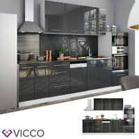 Vicco Küche FAME-LINE Küchenzeile Einbauküche Block 295cm Anthrazit Hochglanz