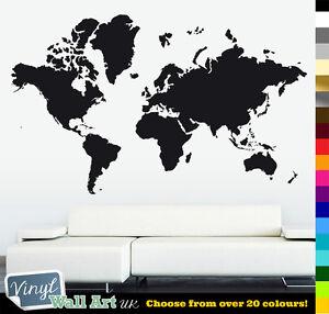 HUGE World Map Vinyl Wall Art Sticker Decal Various Colours + FREE P&P!
