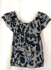 Michael Kors Cami Tank Top Womens Sz Petite Small Blue Floral Ruffle 100% Silk