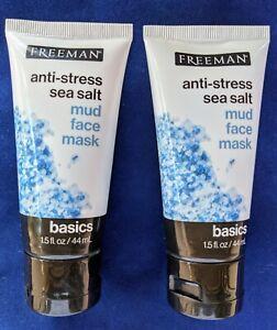 2 FREEMAN Anti-Stress Sea Salt Mud Face Mask Trial Travel 1.5 fl oz/44 ml ea Sea