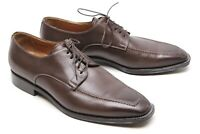 Santoni Mens Dress Shoes 10 D Brown Leather Stitched Toe Blucher Made in Italy