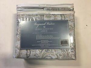 Raymond Waites Queen Sheet Set 6- Pc, 300tc 100% Cotton Sateen Delos LT Blue