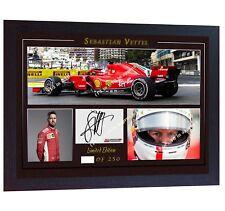 Sebastian Vettel Ferrari Formula 1 Grand prix signed photo printed Framed