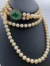 Vtg Trifari Fehlerhaft Grün Smaragd 2strand Fx Perlenketten Jewels India Wow