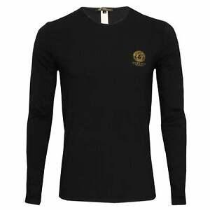 Versace Iconic Men's Crew-Neck Long-Sleeve T-Shirt, Black