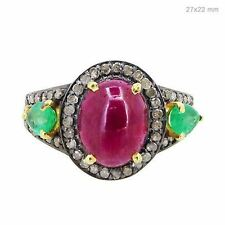 Emerald Ruby Diamond Pave Wedding Cocktail Ring 14K Gold Sterling Silver Jewelry
