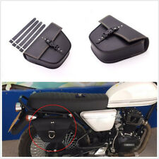 Black Synthetic Leather Motorcycle Side Saddle Bag Luggage For Cafe Racer Custom