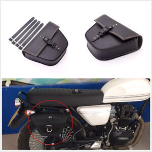 Black Synthetic Leather Motorcycle Side Saddle Bag Luggage For Cafe Racer Custom