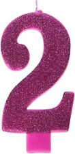 2nd Birthday Candle Cake Topper Number 2 Party Age Decor Bday Decoration Pink