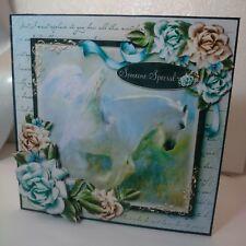 Handmade 3D decoupage blue pegasus horse roses birthday card with envelope