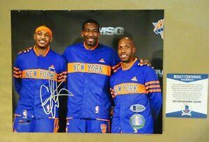 """Autographed CARMELO ANTHONY Signed 8""""x10"""" Photograph NY Knicks BECKETT BAS COA"""