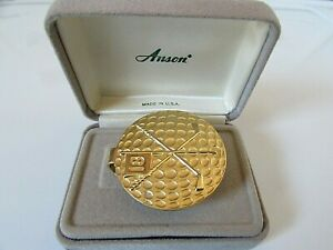 Vintage Anson Gold Tone Golf Ball & Clubs Money Clip with Box