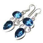 "11 gm blue topaz quartz gemstone .925 silver earring 2"""