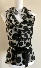 SIMONA BLACK & GREY HALTER NECK TOP SIZE 12 DESIGNER