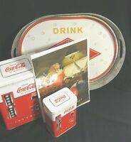Coca Cola Tray  2 Tins One Santa pics 1951
