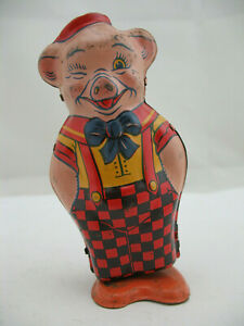 Chein Tin Litho Wind Up Toy: Pig in Suspenders, Walker