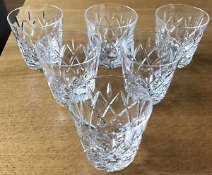 6 x Vintage Crystal Cut CrystalGlass Whiskey Tumblers Glasses 7.5cm Tall. VGC