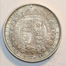 1888 Victoria Sterling Silver Half Crown Extremely Fine Condition