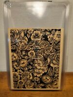 """Large 6"""" x 5"""" Floral Wood Mounted Rubber Stamp"""