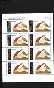 Tanzania  1986 Audubon Birth Bicentenary 20/- Scarlet Ibis Sheet of 8  MNH
