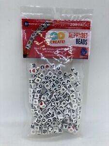 Horizon Group Go Create Square Plastic Alphabet Beads ~ 200 Beads