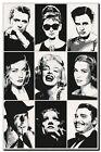 QUALITY CANVAS PRINT `Hollywood Legends' Marilyn Monroe, Audrey Hepburn A4