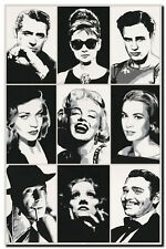 QUALITY CANVAS PRINT `Hollywood Legends' Marilyn Monroe, Audrey Hepburn A4