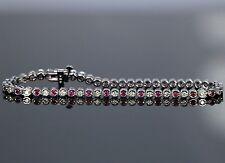$7,500 14K White Gold 1.65ct Round Diamond Ruby Half Bezel Set Tennis Bracelet