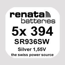 5x Renata 394 Uhren-Batterie Knopfzelle SR936SW AG9 1,55V Silberoxid Neu